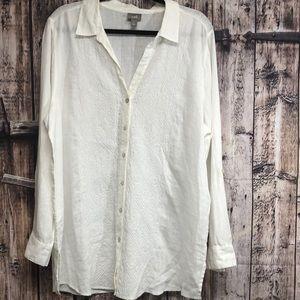 J. Jill XL white 100% linen white tunic